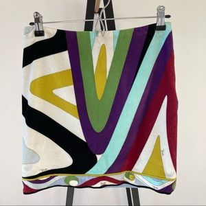 PUCCI Colorful Psychedelic Velvet Mini Skirt 1960s